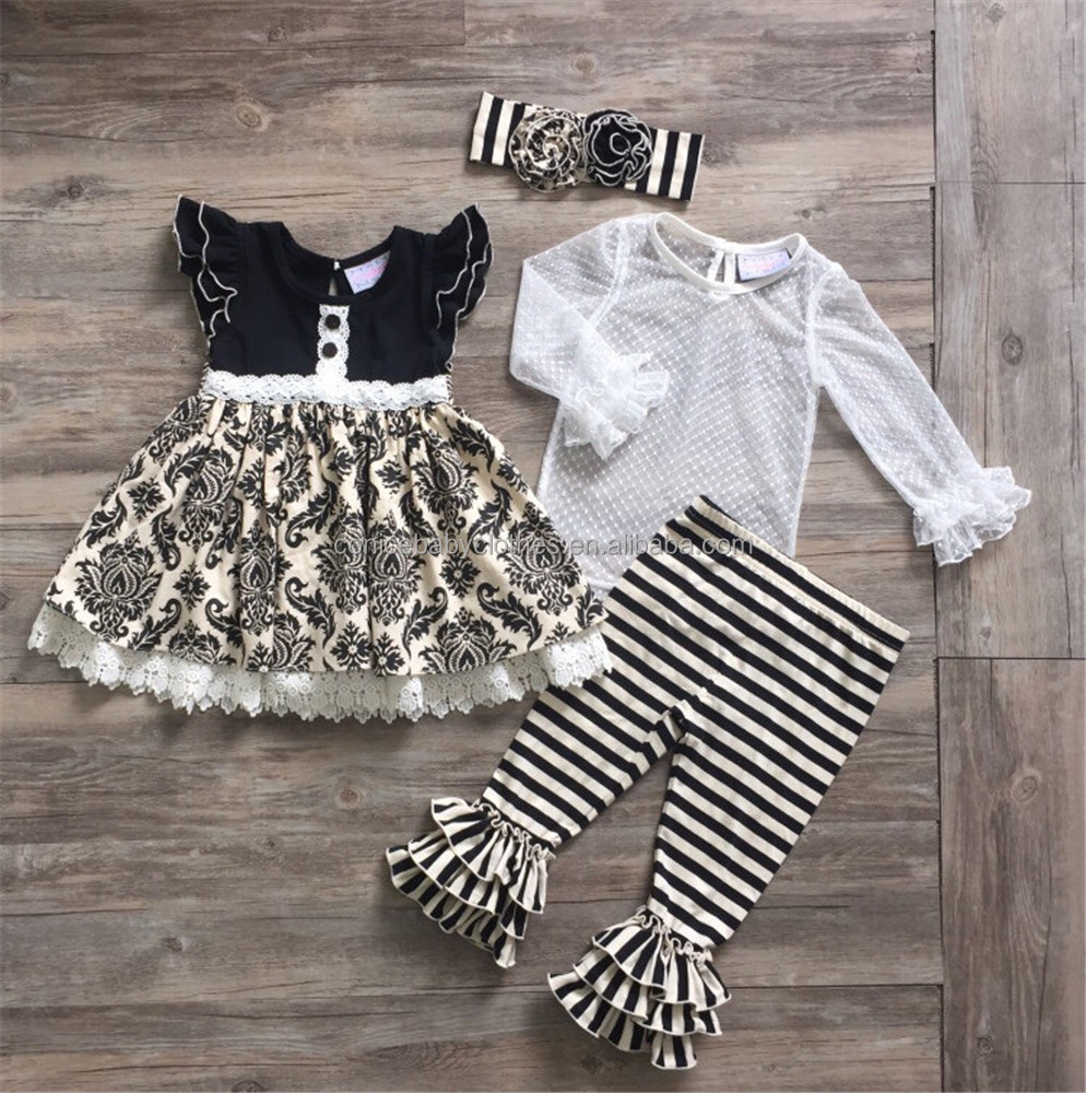 wholesale children clothing sets fall girl long sleeve kids wears christmas boutique outfits