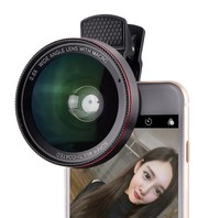 2 in 1 Optical Glass Camera Kit 0.6X Super Wide Angle Lens 15X Macro Universal Clip-On Mobile Phone Lens for Canon