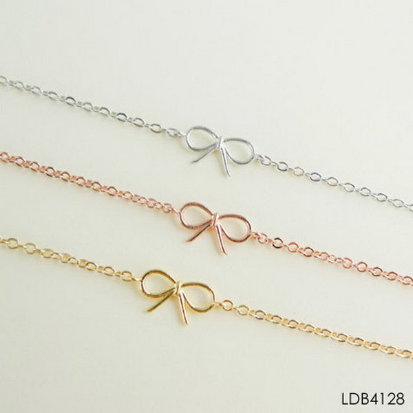 2017 Thin Silver Chain Tiny Initial Letter Alphabet Bracelet