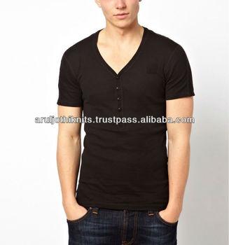 3120ce041df Mens V Neck T Shirt With Button Placket - Buy Deep V Neck T Shirts ...