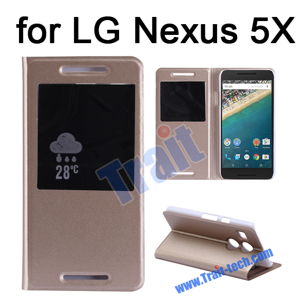 View Window Side Stand Flip Leather Case Cover for LG Nexus 5X, for Nexus 5X Case