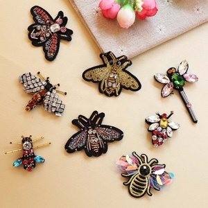 Bee Dragonfly Insect Design Rhinestone Beaded Embroidery Patch