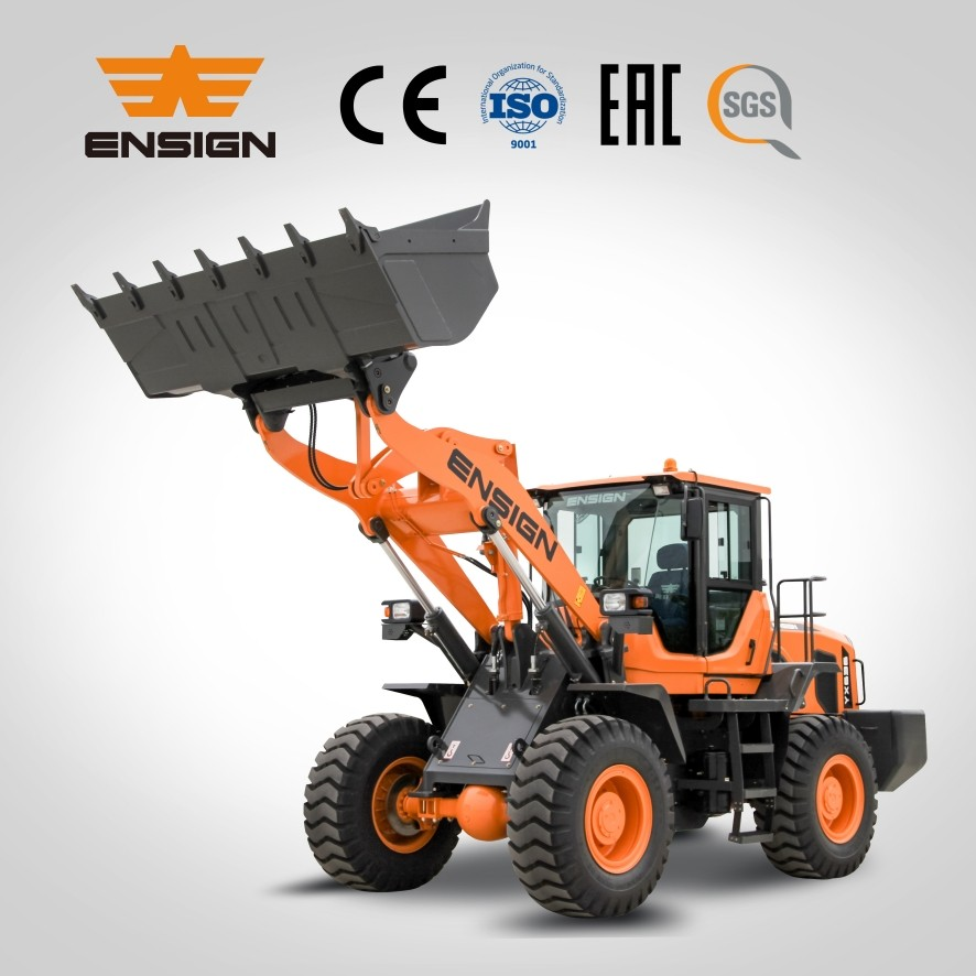 Manufacturer ENSIGN 3T heavy-duty wheel loader with Weichai 92KW engine/5T transmission/AC/Joystick
