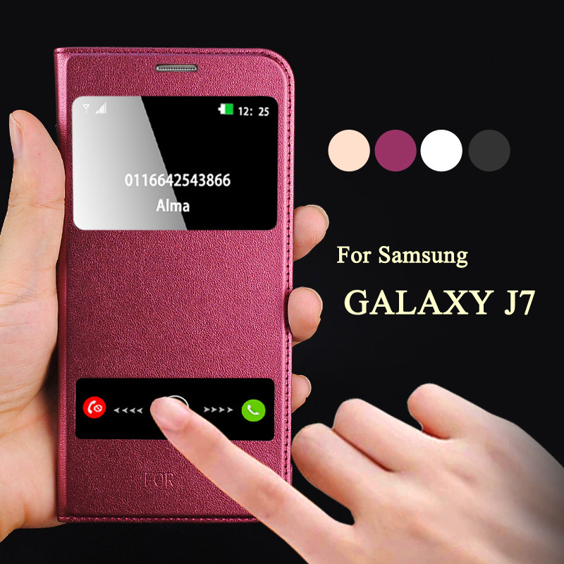 separation shoes 6219b d71e5 Luxury Coque For Samsung Galaxy J7 J700F Case Hard Back Skin Mobile Phone  Flip Leather Cover For Galaxy J7 Window Smart Calling