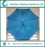 new shaped baby umbrella with blue T190 pongee fabric and cute cartoon drawing silk printing outside umbrella cover