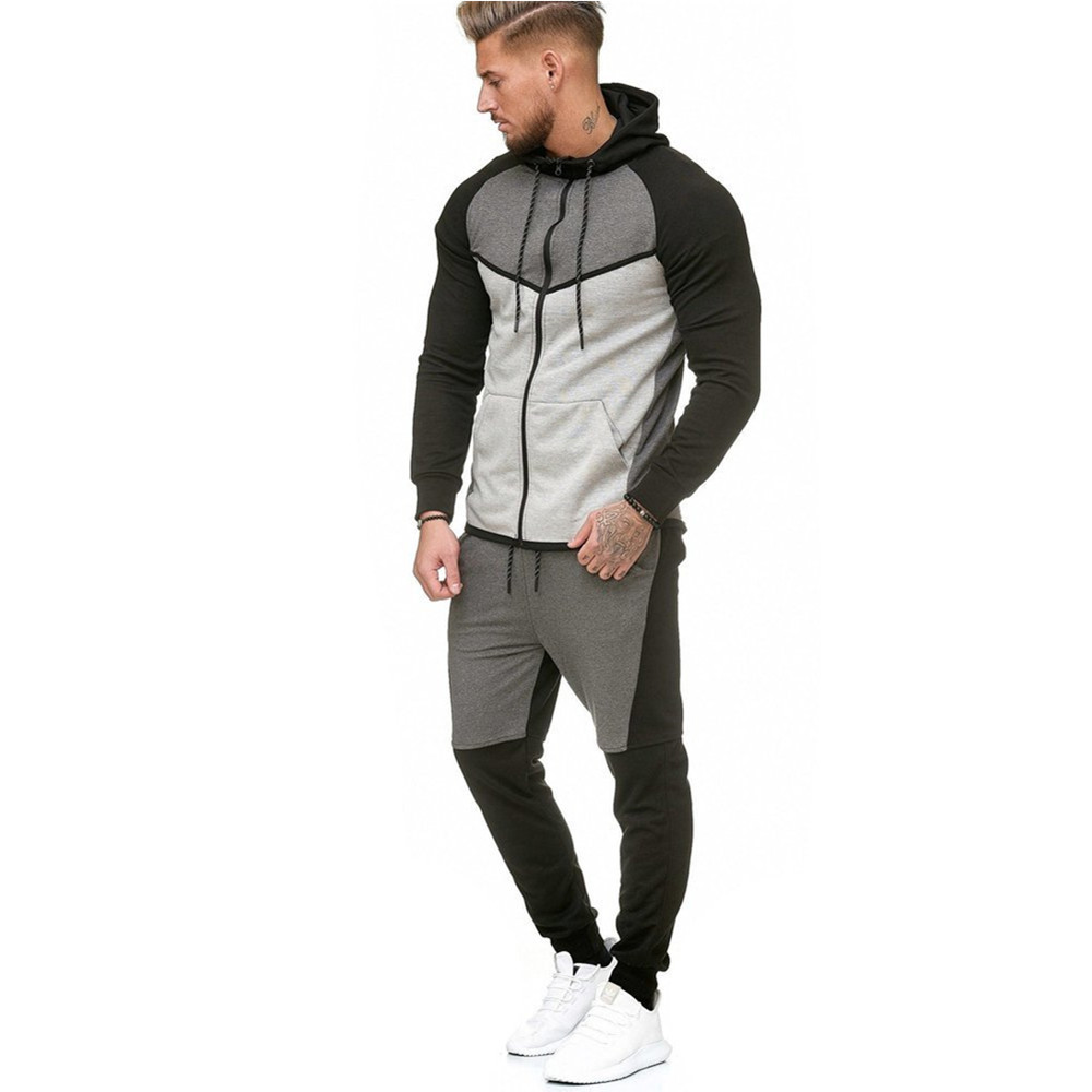 Mannen Sport Wear Set Mode Effen Sweater Broek Trainingspak Uitloper Kleding