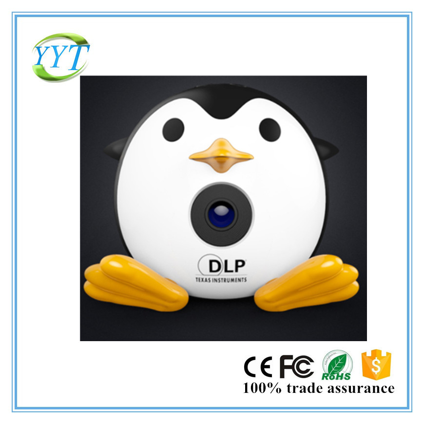2017 newest Penguin design DLP projector Q1 with built-in battery HDMI USB AV input