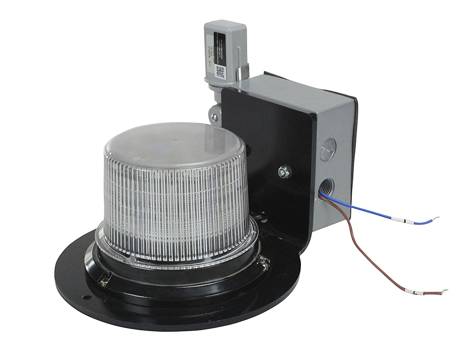 Class 1 LED Beacon with 30 Strobing Light Patterns - Dusk to Dawn - Surface Mount - 120-240V AC(-Whi