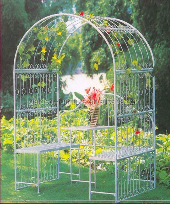 Anxi Wrought Iron Handicrafts Decorative Painted White Cheap China Garden  Furniture,metal Garden Arbor,