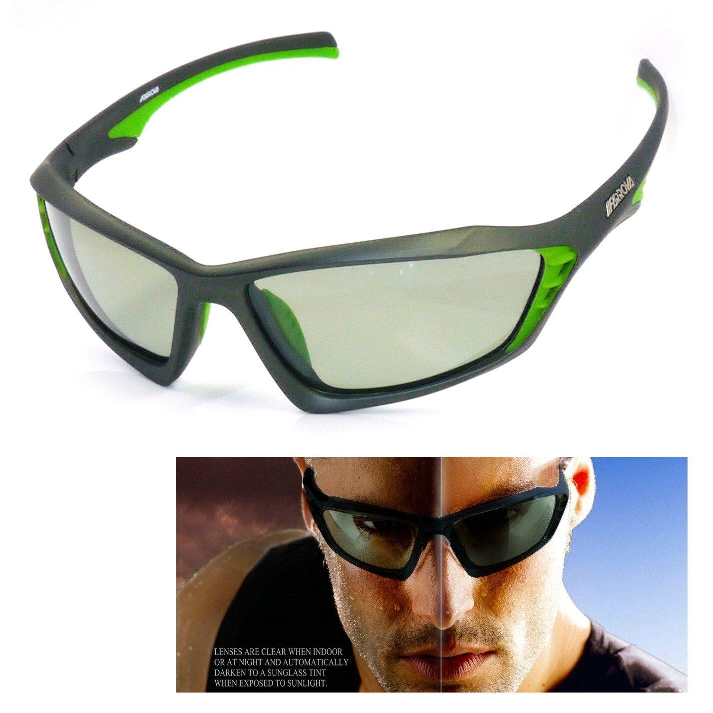 5c59b57b543c Get Quotations · FARROVA - KD015 POLARIZED Sports Sunglasses with Smart  Photochromic Lenses (Black Grey Lenses