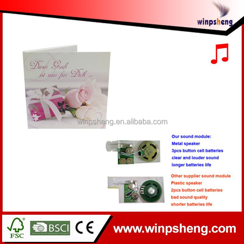 OEM High End Voice Recording Valentine's Day Greeting Card With 30 Second Love Music