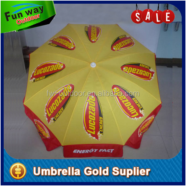 Full color impresso 3 m rodada solar beach umbrella parasol