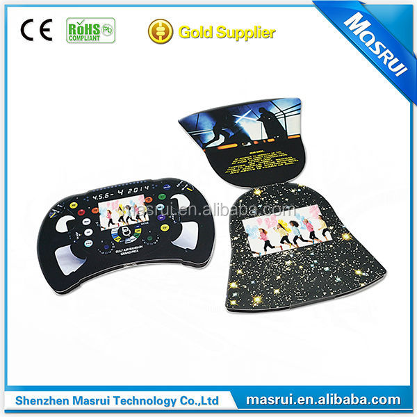 Special design LCD screen video brochure/ promotional video greeting card for game