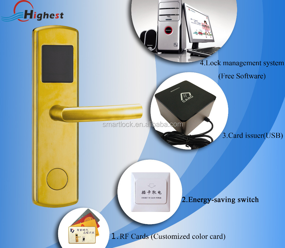 Stainless steel smart electronic RF hotel card reader door lock with free software
