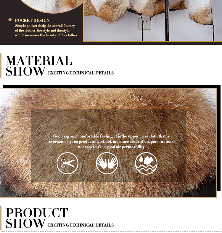 Plus size long style fox fur collar raccoon fur parka