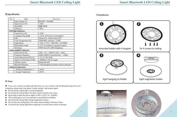 New Design Bluetooth Speaker Light Home Ceiling Lamp 24w Rgb Led Light Fixture Of Ceiling Burner