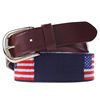 American Flag Navy Needlepoint Belt