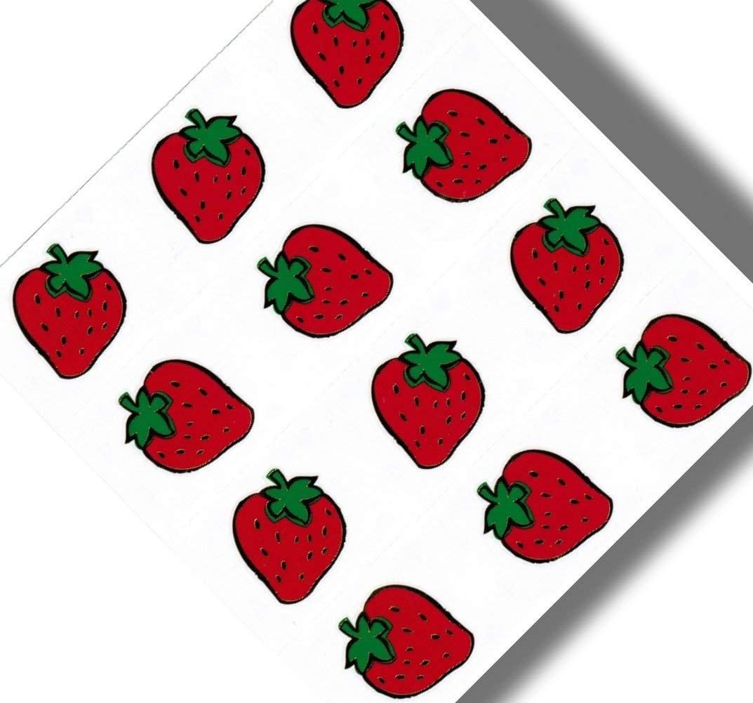 """Custom & Decorative {.5"""" to 2"""" Inch} 12 Piece Pack of Small Stickers for Arts, Crafts & Scrapbooking w/ Cartoon Multiples Of All The Same Strawberries Fruit {Red & Green}"""