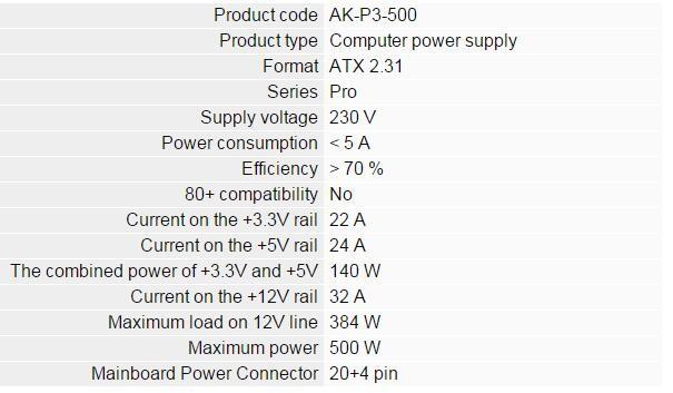 Akyga Computer Psu,Computer Power,Atx Power Supply Ak P3 500w Psu ...