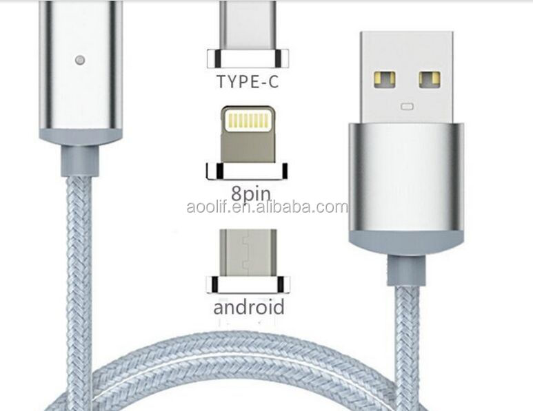 charging cable magnetic/two adapters for android and iphone/magnetic usb cable wholesale price