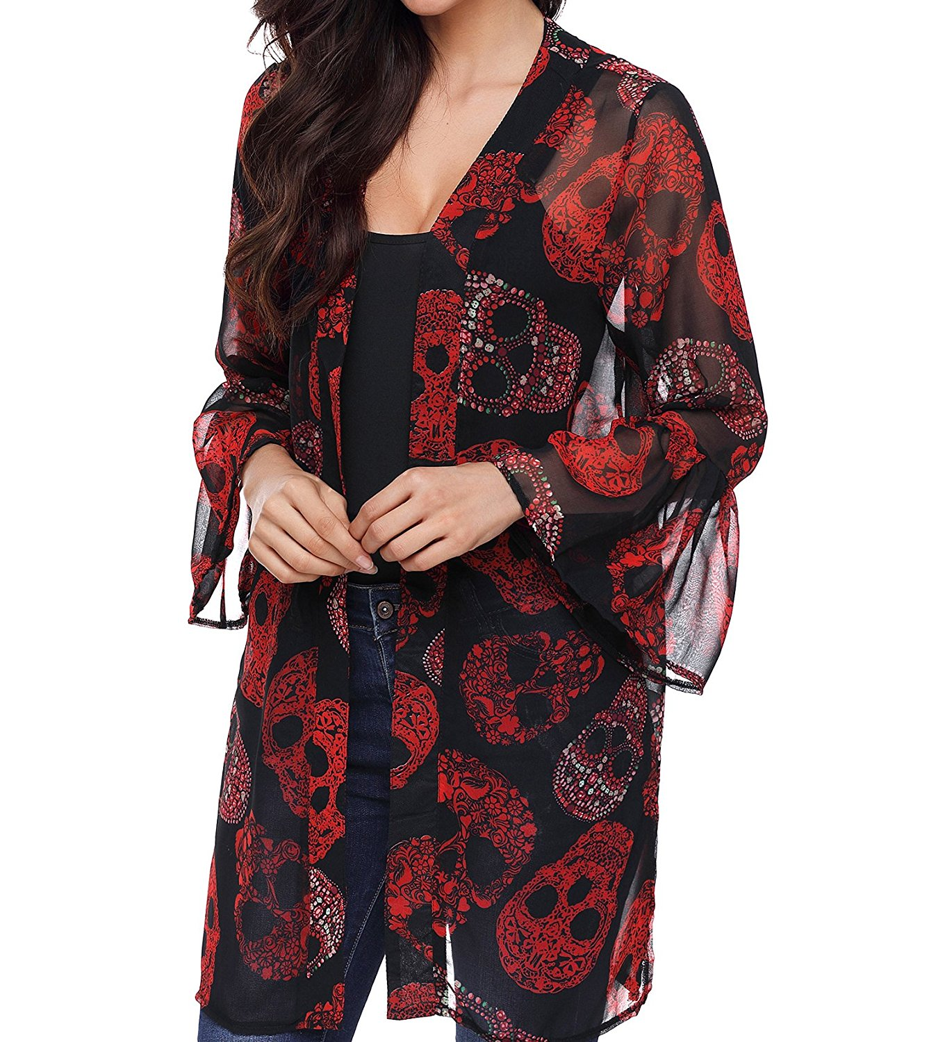 Get Quotations · TINHAO Women s Skull Print Sheer Loose Kimono Cardigan  Tops Blouse Cover up 5aef4e4af