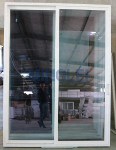 Balcony pvc plastic steel sliding glass door with mosquito net
