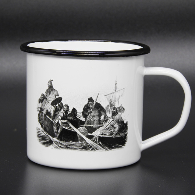 Custom logo printing steel enamel mug sublimation white enamel camping mug wholesale enamel metal coffee mug