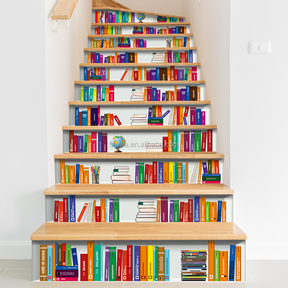 3d Bookshelf Stair Wall Stickers Home Decoration Pvc Vinyl Waterproof Self Adhesive Stair Tread Cover Decorative Sticker Buy Room Decor 3d Wall Stickers Book Cover Sticker Fashion Decoration Sticker Product On Alibaba Com