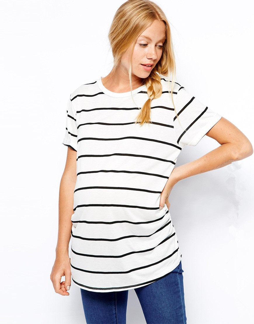 Western Maternity Wear In Black And White Stripe Shirt ...