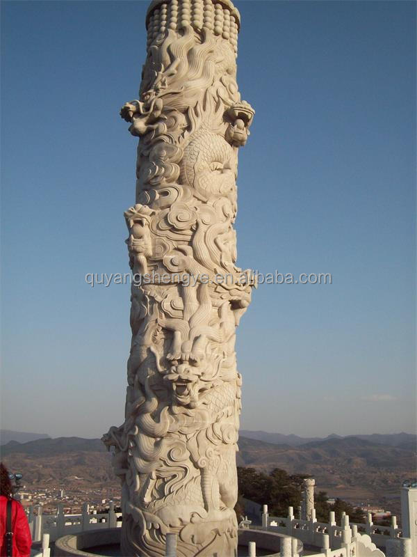 Marble Hand Carved Column With Dragon Design Buy Marble