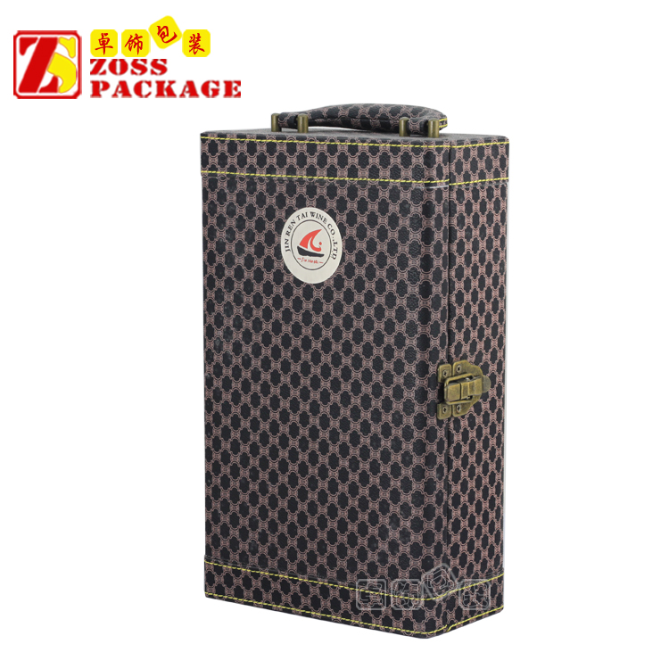 Wholesale High Quality leather wine carrier box