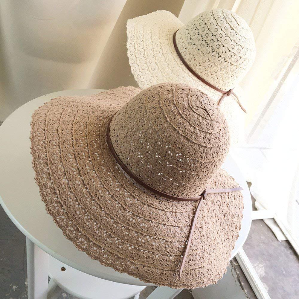 Get Quotations · Summerdaisy Women Beach Sun Hats Girls Floppy Straw Hat  Woman Foldable Floppy Travel Packable UV Hat 9d7bdd0075f5