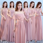 ZH1139L Elegant long bridesmaid dress pink puffy one shoulder evening gown