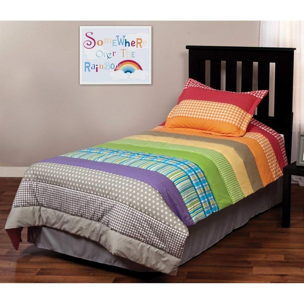 2pc Kids Girls Twin Rainbow Quilt Set, Plaids Bedding, Colorful Stripes Pattern, Vibrant Rainbow Colors, Printed Dots, Cherry Red Orange Yellow Green Blue Purple Gray