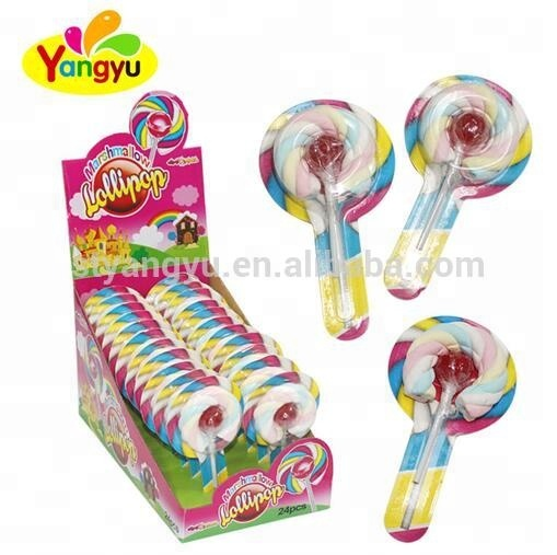 round stiack sweet Marshmallow with fruit flavor lollipop candy sweet