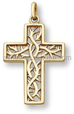 Crown of Thorns Cross Pendant 14K Yellow Gold plated stainless steel necklace charms
