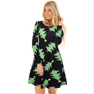 L3021A Short Party Patterns Christmas Tree Printed Young Lady Christmas Dress Fashion