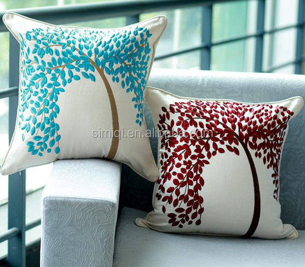 2015 Manufacturer Hand Embroidery Design Tree Of Life Pillowcase