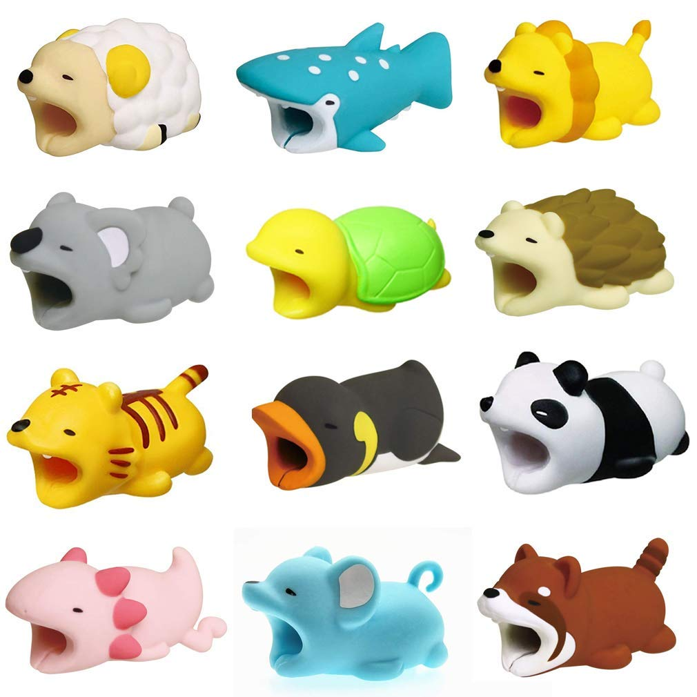 Boshanda 12 PCS Cell Phone Cable Protector Cable Bites Various Cable Animal Shapes Phone Cable Accessory Charging Cables Protective