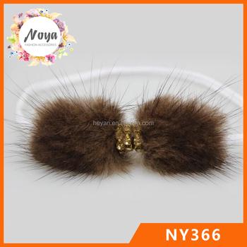 2016 latest design kids fur headbands elastic feather hair bow headband eab70308283