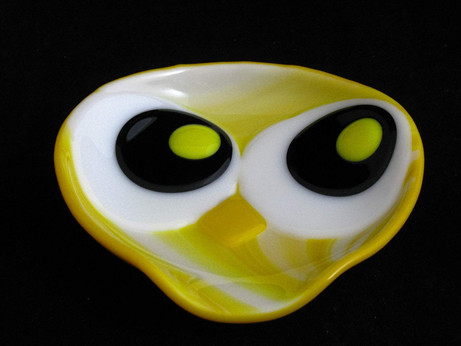 Owl Spoon Rest, Round Fused Glass Spoon Rest, Spoon Holder, Yellow Spoon Rest, Yellow Owl Spoon Rest, Spoonrest