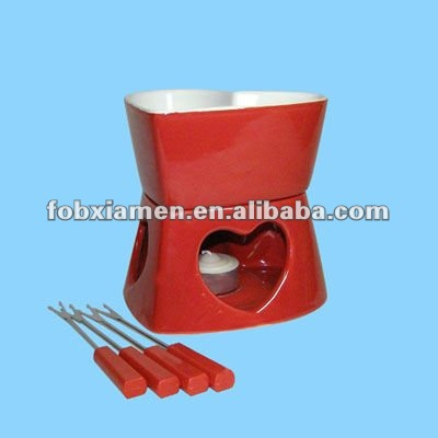 red cheese chocolate ceramic fondue burner