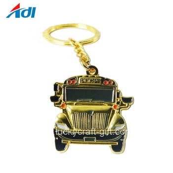 Factory car shape custom metal souvenir gold keychains with your logo