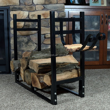Fireplace Sets Accessories Metal Smart Log Holder Decorative Wrought Iron Firewood Rack Fire Storage