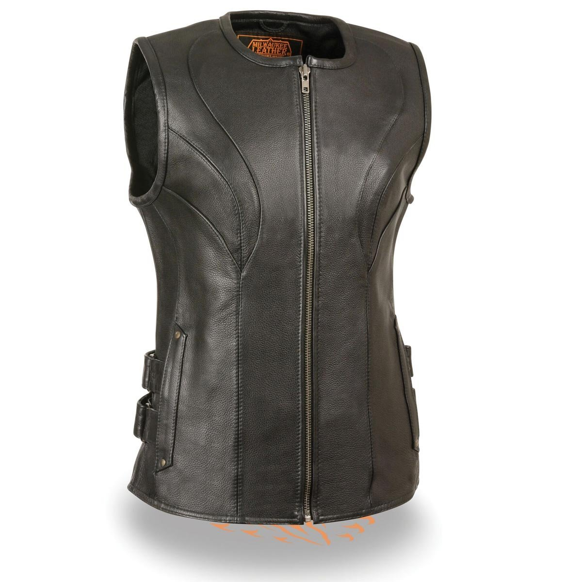 Milwaukee Leather Womens Zipper Front SWAT Style Black Leather Vest with Gun Po - X-Small