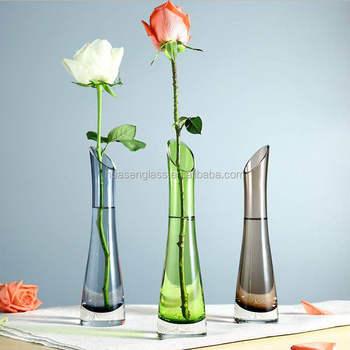 Long Glass Vase Green Solid Color Stem Clear Transparent Flower Vase