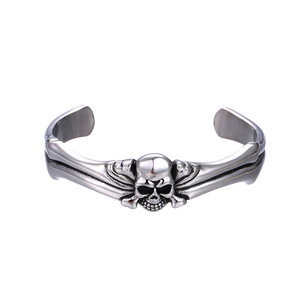 52066 xuping fashion man's bangle Stainless Steel open design skull head cool bangle