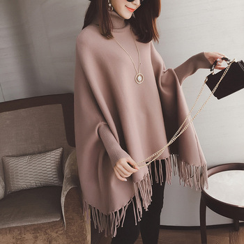 MS74628L Women batwing sleeve loose poncho coats