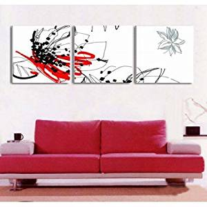 Ode-Rin Art Christmas Gift Christmas Hand Painted Oil Paintings Gift Elegant Lotus 3 Panels Wood Inside Framed Hanging Wall Decoration