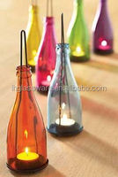 Repurposed wine glass bottle candle lamp /glass bottle DIY
